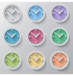 Set of clock icons with colour faces vector image