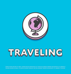 traveling colour icon with globe vector image