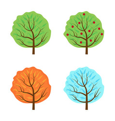 trees set the seasons icon flat style isolated on vector image vector image