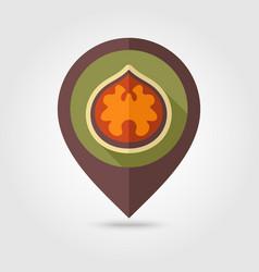 Walnut flat pin map icon fruit nut vector