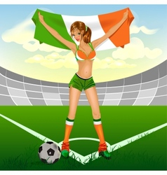 Ireland girl soccer fan vector
