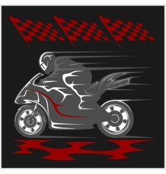 Motorcycle racing on the racetrack and checkered vector
