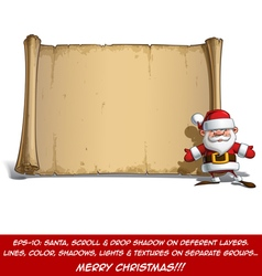 Happy santa scroll open hands vector