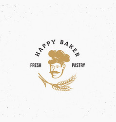 Happy baker premium pastry emblem sign or vector
