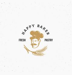happy baker premium pastry emblem sign or vector image