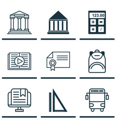 set of 9 school icons includes e-study college vector image