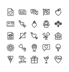 Love and valentine line icons 5 vector