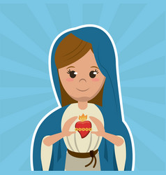 Virgin mary sacred heart christian catholic symbol vector