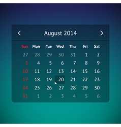 Calendar page for august 2014 vector