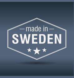 Made in sweden hexagonal white vintage label vector