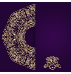 Abstract lilac background with gold lacy mandala vector