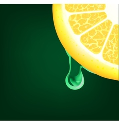 Flowing down drop on a lemon segment background vector
