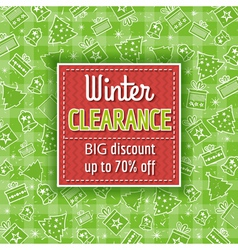 Green christmas background and sale label vector