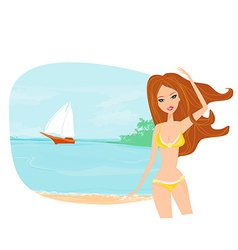 Summer sexy beach girl vector