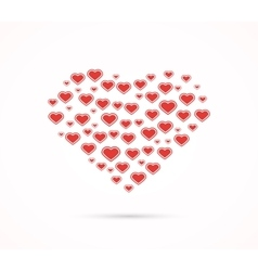 Heart shape with love hearts vector