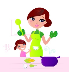 Mother cooking healthy food vector