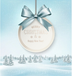 Merry christmas card with a ribbon and winter vector