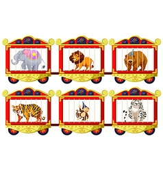 Wild animals in the circus cages vector