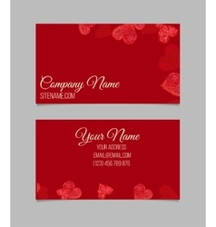 Visiting card with hand drawn hearts vector