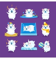 Polar bear different emotions set vector