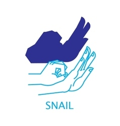 Shadow hand puppet snail vector