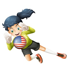 A female soccer player with the united states flag vector