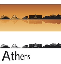Athens skyline in orange background vector