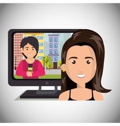 Avatar woman news theme vector