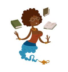 cartoon genie beautiful teacher character magic vector image vector image