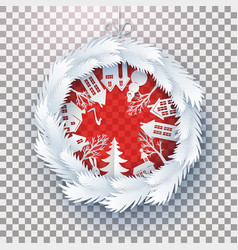 christmas decorated ball on transparent vector image