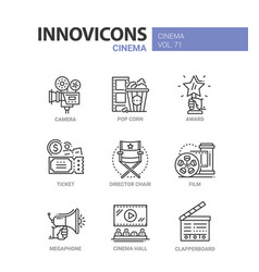 Cinema - set of modern thin line design icons vector