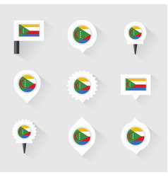 Comoros flag and pins for infographic and map vector