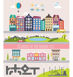 Different city elements for creating your own map vector