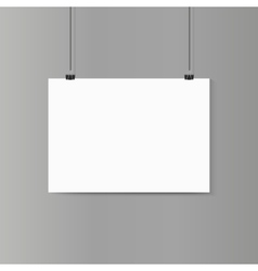 Empty horizontal white paper poster mockup on grey vector