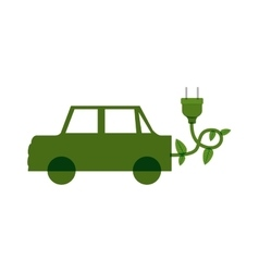 Green electric car with leaves and plug vector