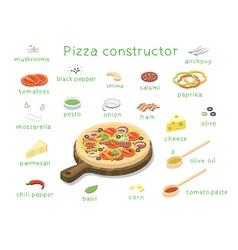 Isometric set of ingredients to build custom tasty vector