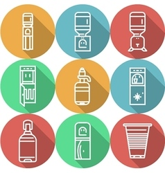 Items for water coolers colored icons vector