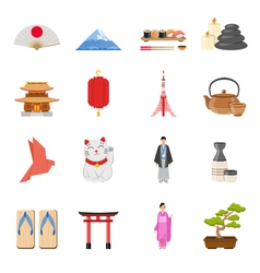 Japanese national symbols flat icons set vector
