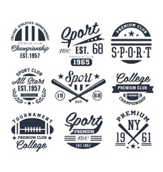 Monochrome Sport Emblems Labels Badges Logos vector image vector image