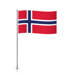 Norway flag waving on a metallic pole vector image vector image