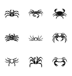 overland crab icons set simple style vector image