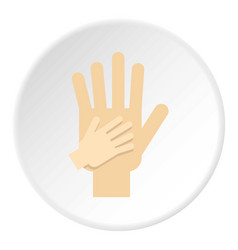 Parent and child hands together icon circle vector