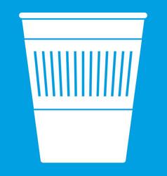 Plastic office waste bin icon white vector