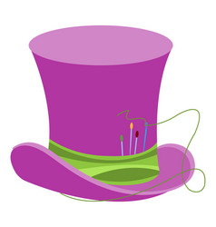 Purple wizards hat with green ribbon and sewing vector