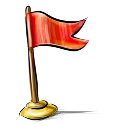 Red flag icon isolated on white vector image