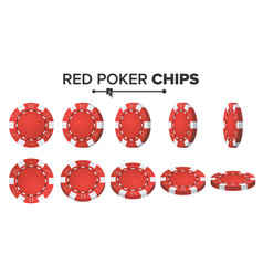 red poker chips 3d realistic set plastic vector image