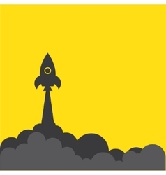 rocket and cloud flat style isolated vector image vector image