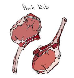 row pork ribs realistic vector image