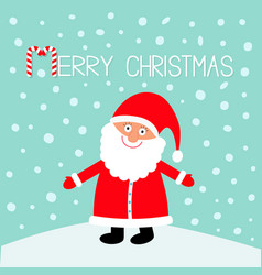 santa claus wearing red hat costume big beard vector image