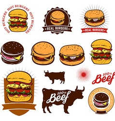Set of the burgers labels vector image